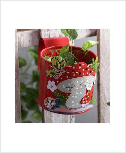 Buy Metal Mushroom Planter Red