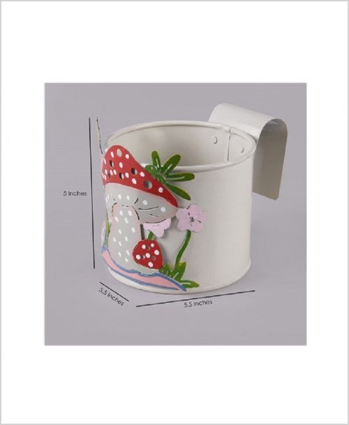 Buy Metal Mushroom Planter White Dia