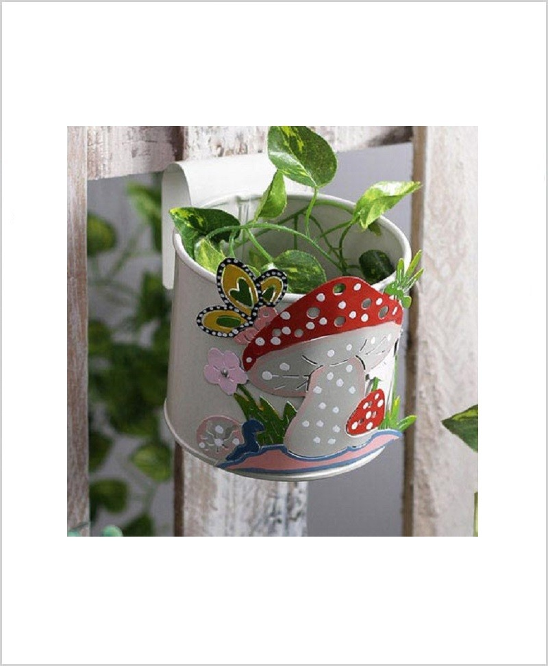 Buy Metal Mushroom Planter White