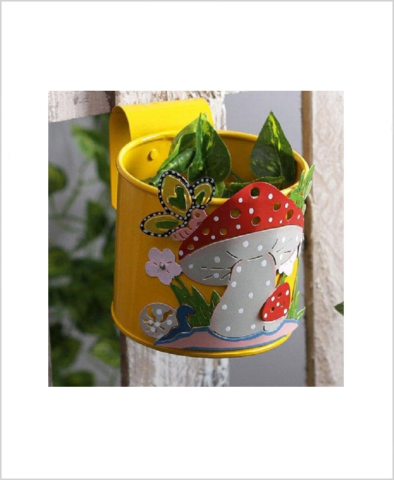 Buy Metal Mushroom Planter Yellow