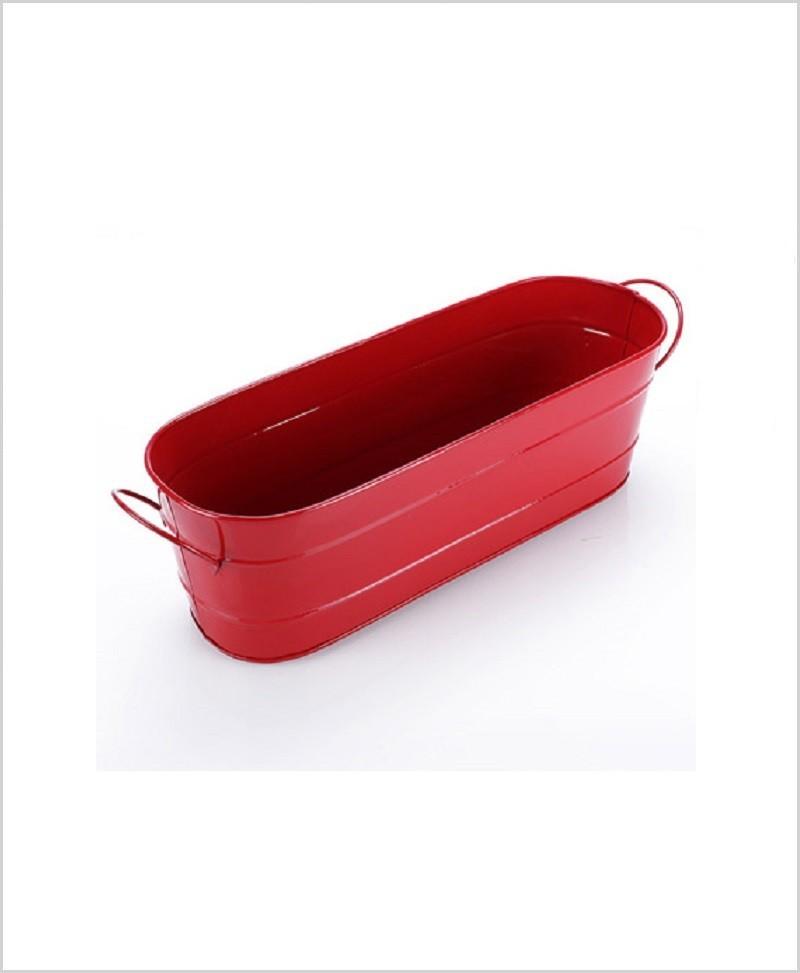 Metal Oval Planter Big Red
