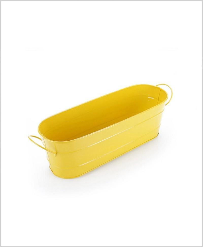 Metal Oval Planter Big Yellow