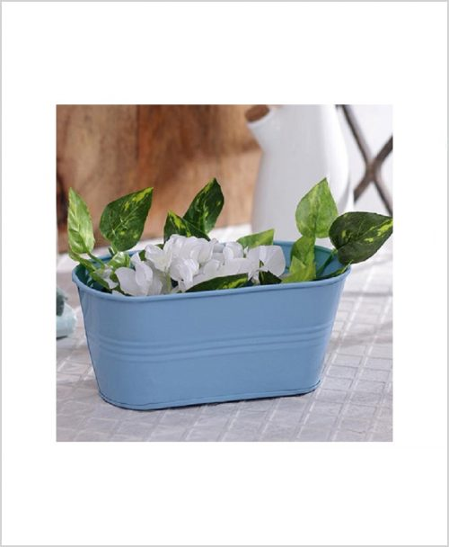 Buy Metal Oval Planter Blue