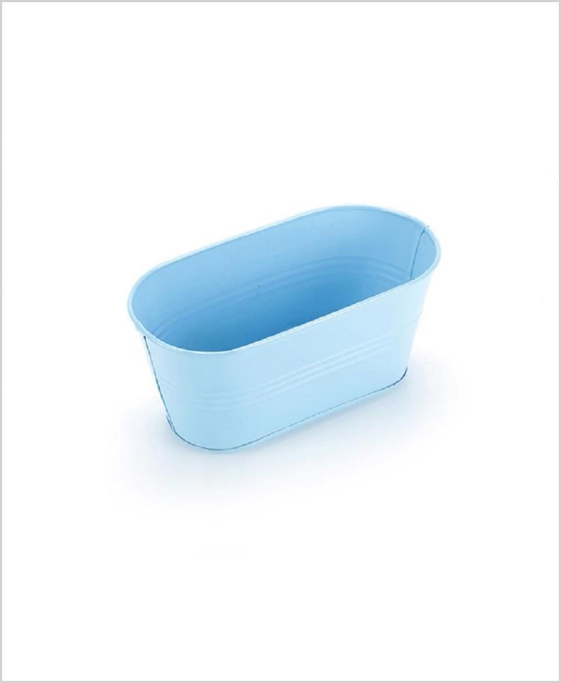 Metal Oval Planter Blue
