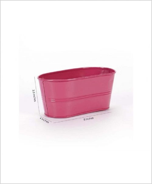 Buy Metal Oval Planter Pink Dia
