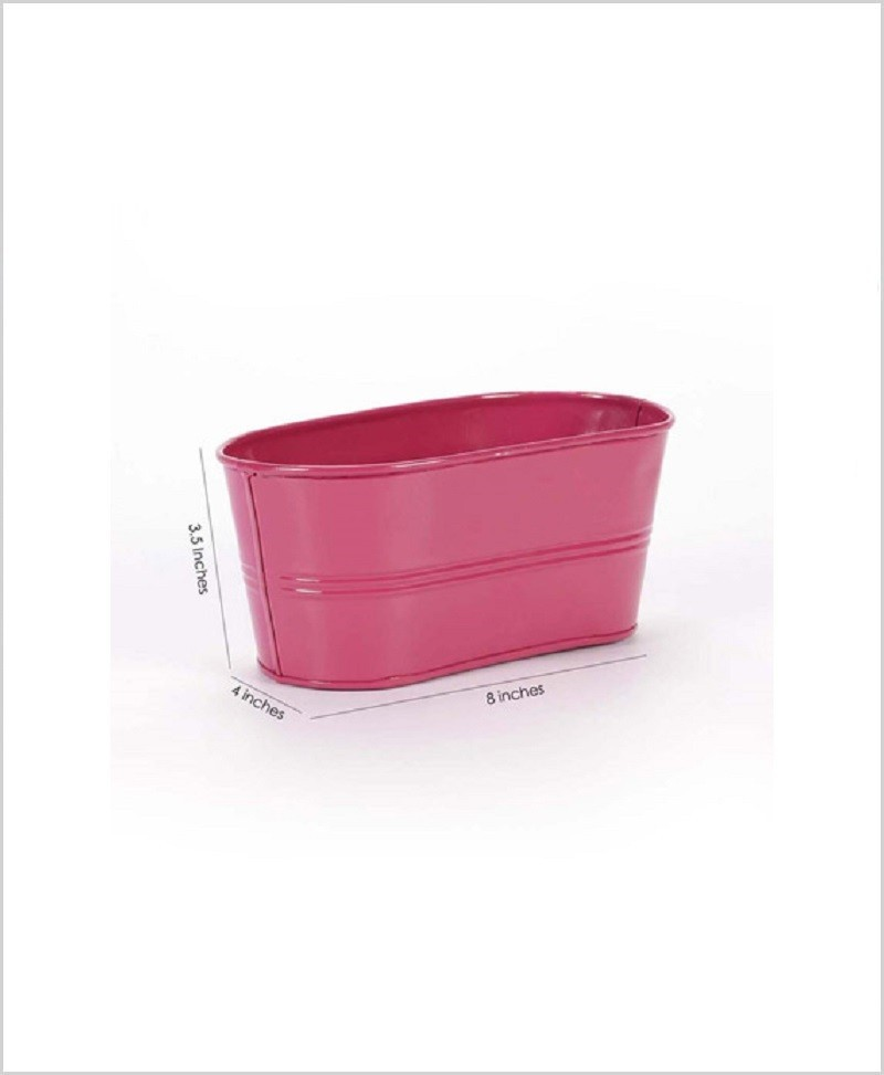 Metal Oval Planter Pink