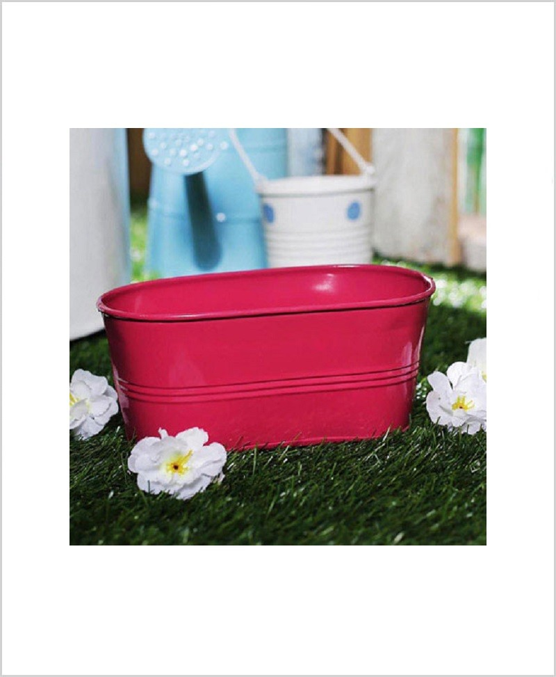 Buy Metal Oval Planter Pink