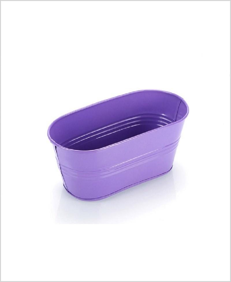 Metal Oval Planter Purple