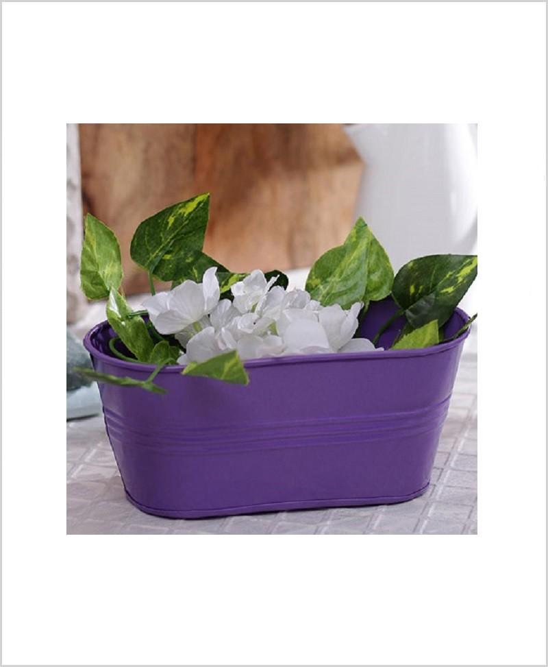 Buy Metal Oval Planter Purple