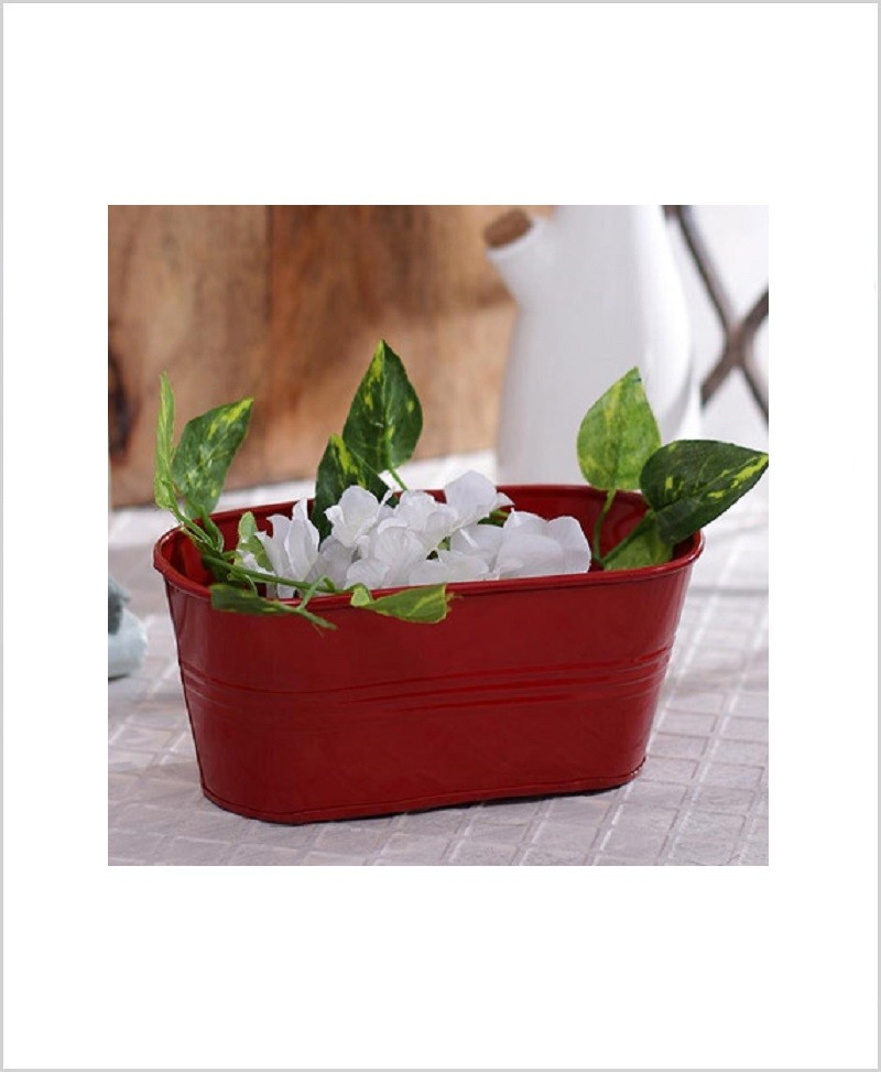 Metal Oval Planter Red