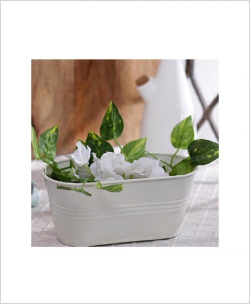 Buy Metal Oval Planter White