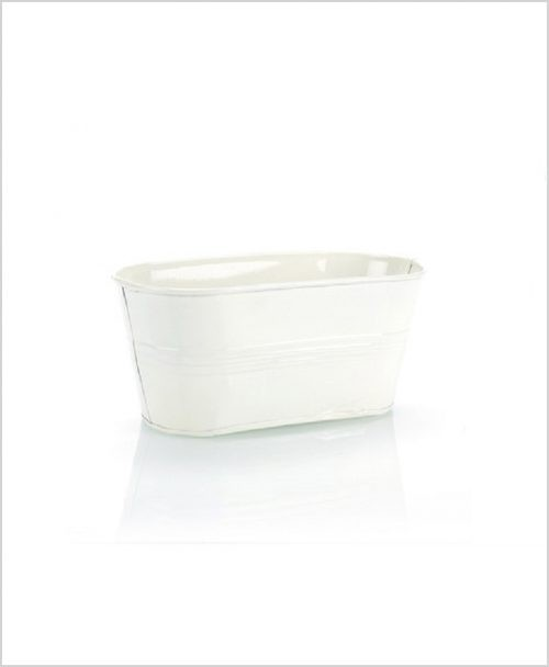 Buy Metal Oval Planter White Dia