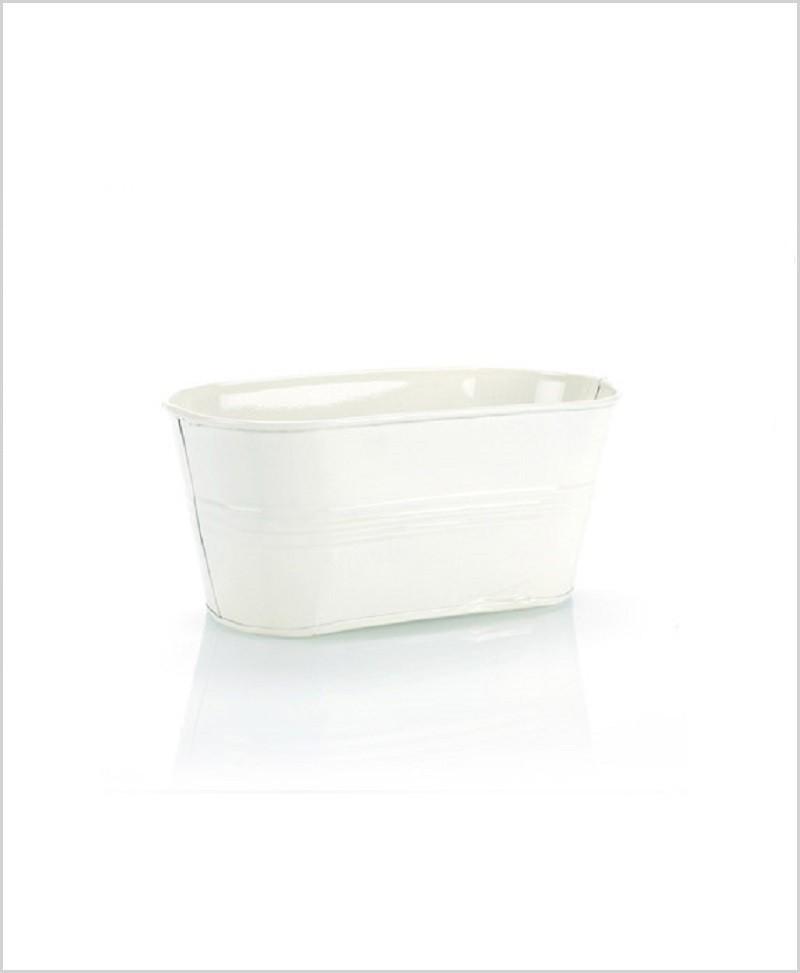 Metal Oval Planter White