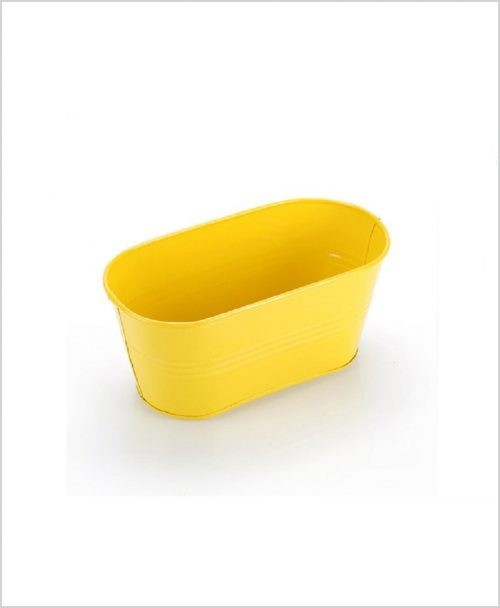 Buy Metal Oval Planter Yellow Dia