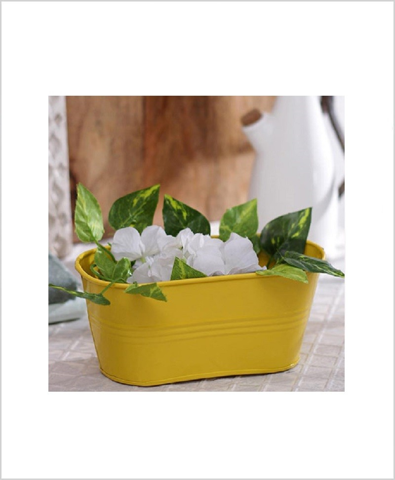 Buy Metal Oval Planter Yellow