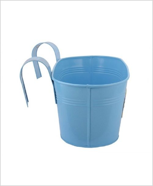 Buy Metal Oval Railing Fish Planter Blue Dia