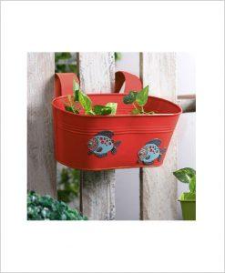 Buy Metal Oval Railing Fish Planter Red