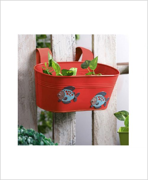 Buy Metal Oval Railing Fish Planter Red