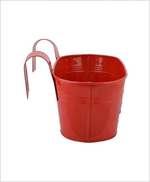 Buy Metal Oval Railing Fish Planter Red Dia