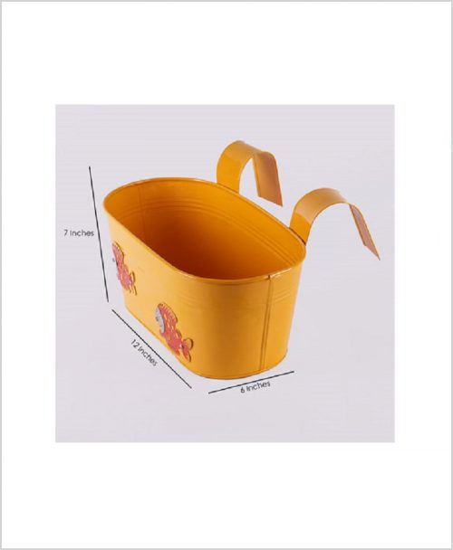 Buy Metal Oval Railing Fish Planter Yellow Dia