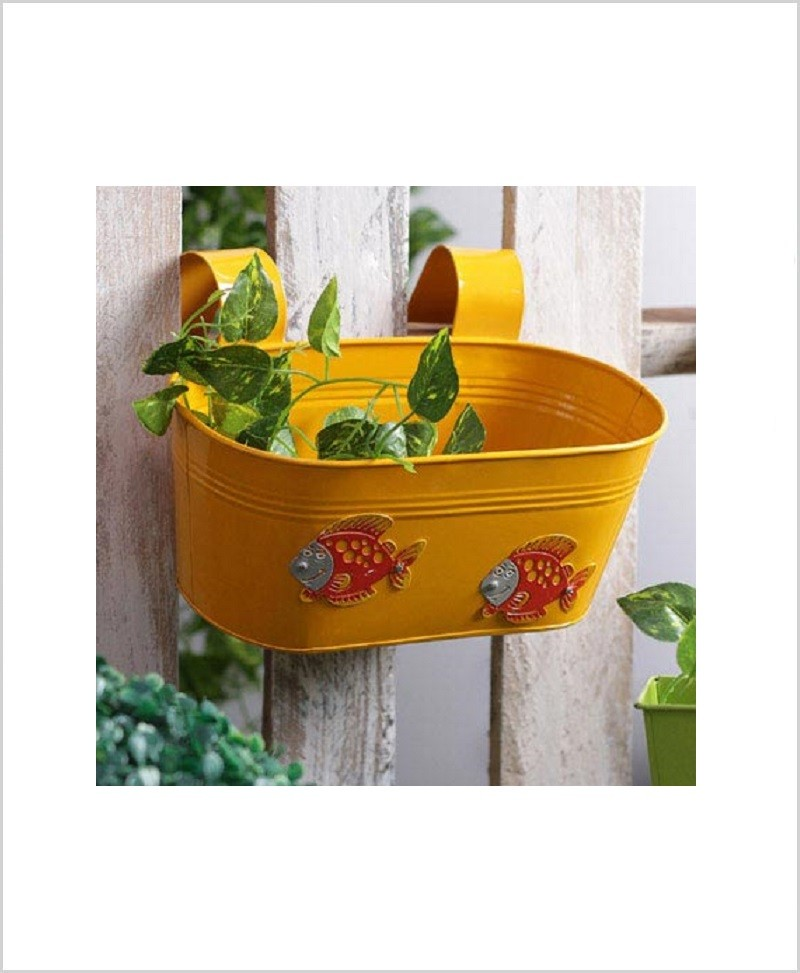 Buy Metal Oval Railing Fish Planter Yellow