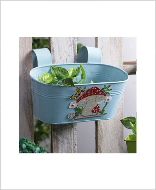 Buy Metal Oval Railing Mushroom Planter Blue