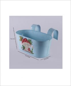 Buy Metal Oval Railing Mushroom Planter Blue Dia