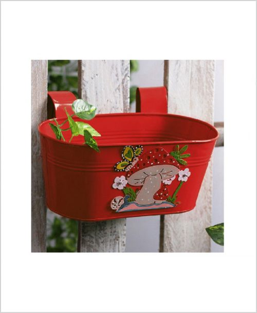 Buy Metal Oval Railing Mushroom Planter Red