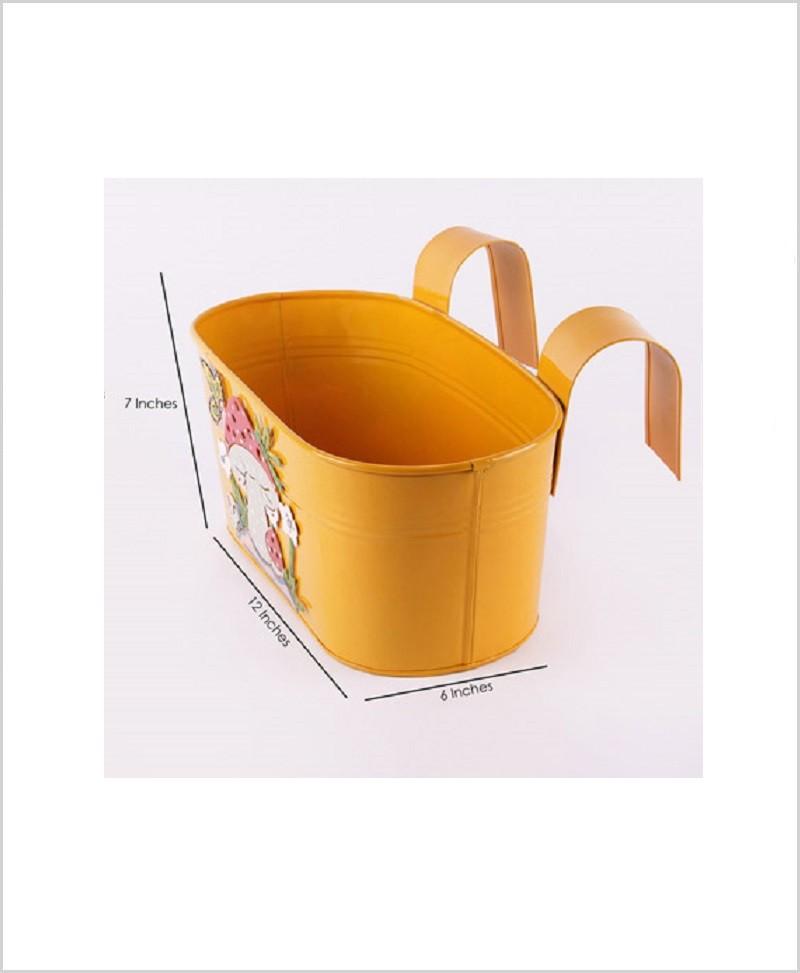 Metal Oval Railing Mushroom Planter Yellow