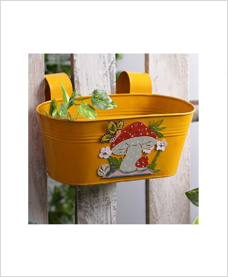 Buy Metal Oval Railing Mushroom Planter Yellow