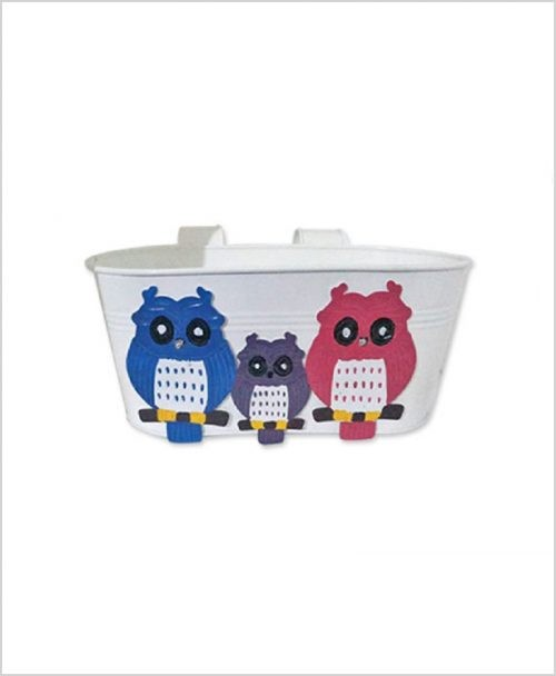 Buy Metal Oval Railing Owl Planter White
