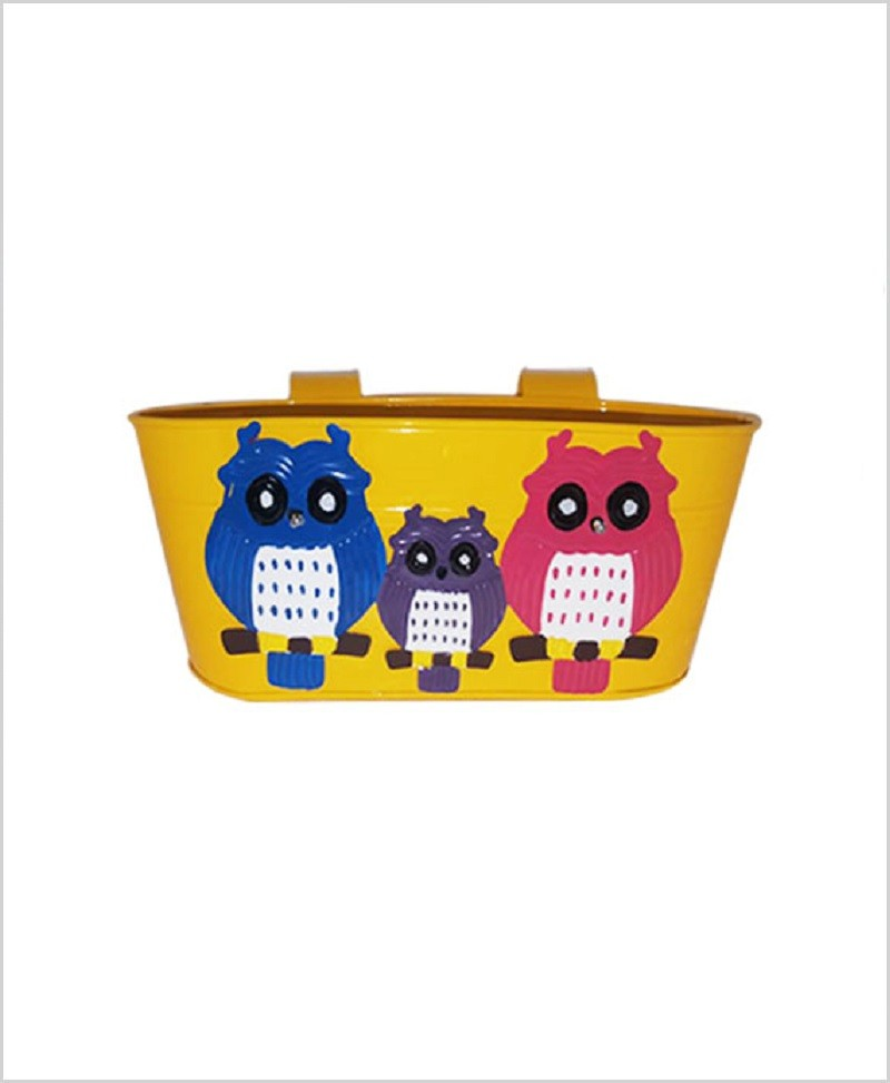Buy Metal Oval Railing Owl Planter Yellow