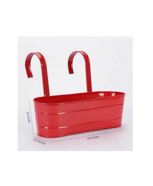 Buy Metal Oval Railing Planter Large Red Dia