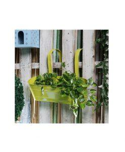 Buy Metal Oval Railing Planter Large Yellow
