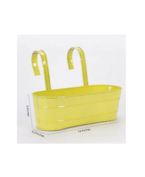Buy Metal Oval Railing Planter Large Yellow