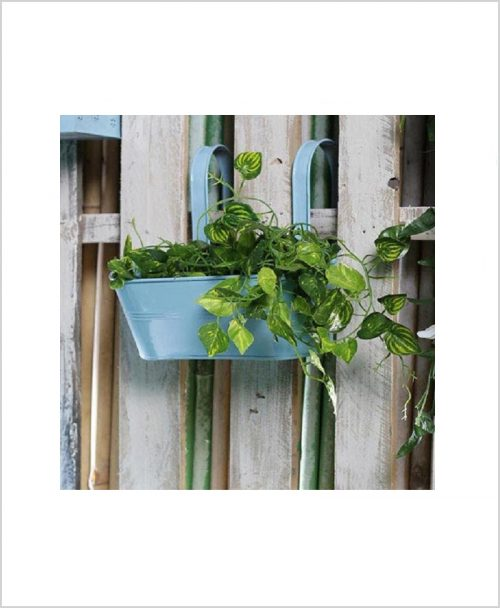 Buy Metal Oval Railing Planter Medium Blue
