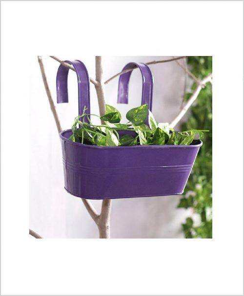 Buy Metal Oval Railing Planter Medium Purple