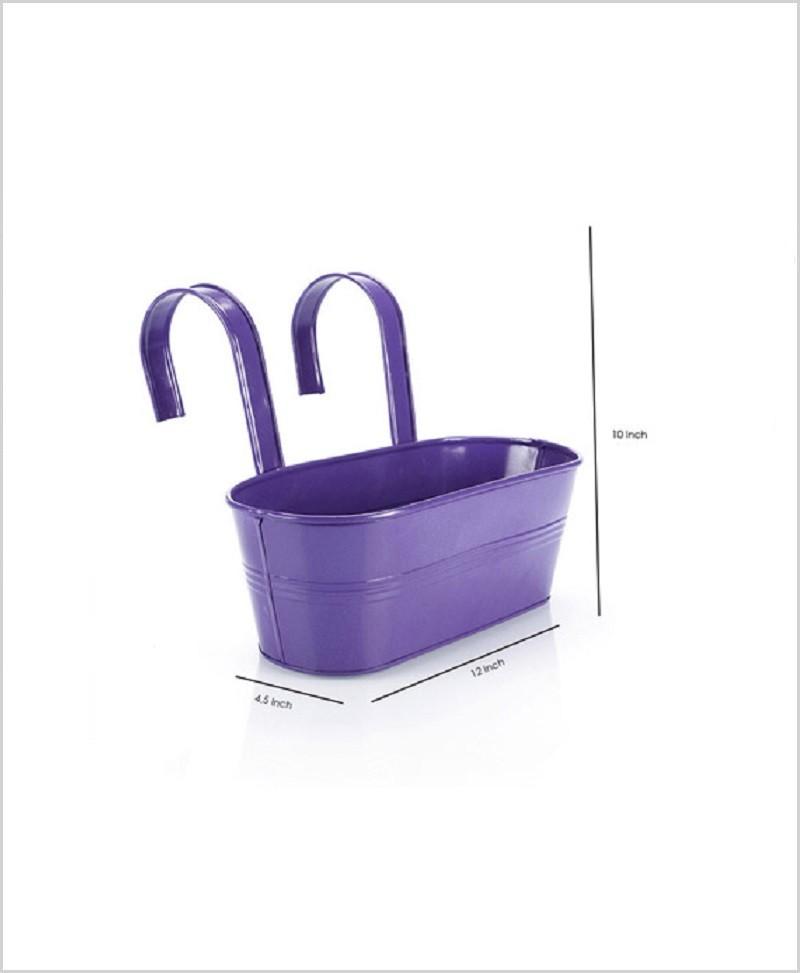 Metal Oval Railing Planter Medium Purple