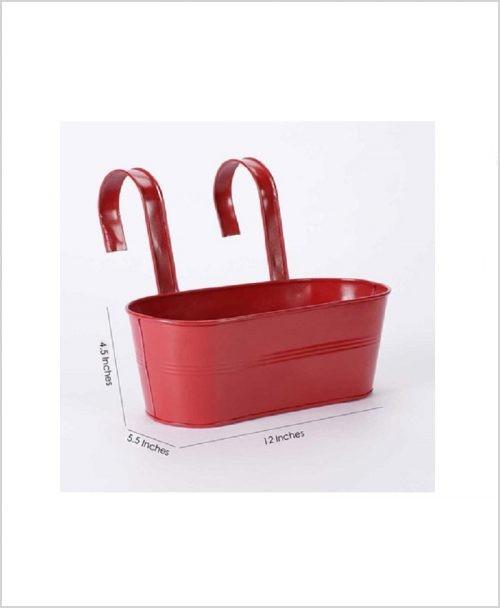 Buy Metal Oval Railing Planter Medium Red Dia