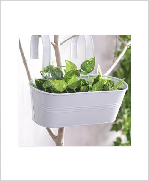 Buy Metal Oval Railing Planter Medium White