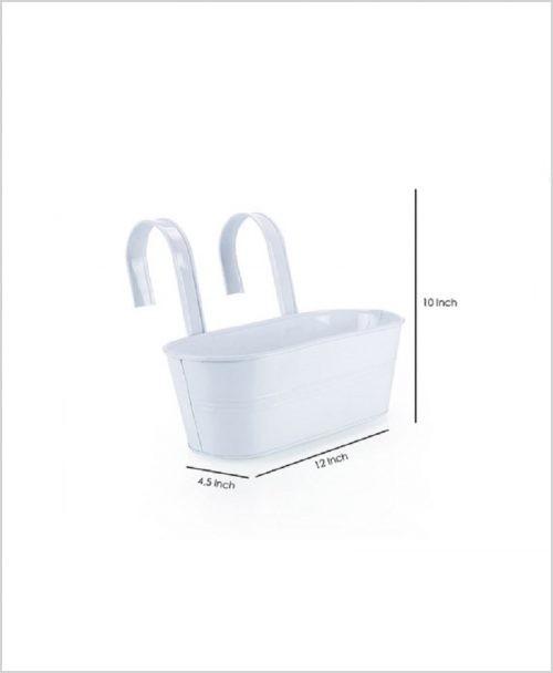 Buy Metal Oval Railing Planter Medium White Dia