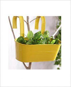 Buy Metal Oval Railing Planter Medium Yellow