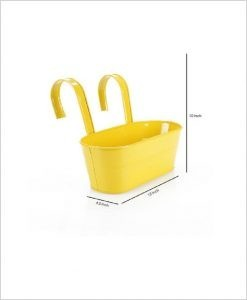 Buy Metal Oval Railing Planter Medium Yellow Dia
