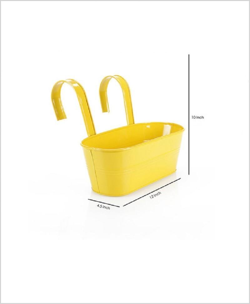 Metal Oval Railing Planter Medium Yellow