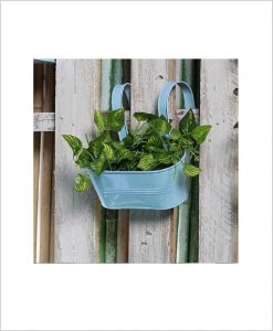 Buy Metal Oval Railing Planter Small Blue
