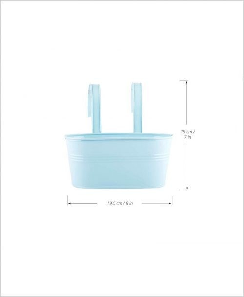 Buy Metal Oval Railing Planter Small Blue Dia