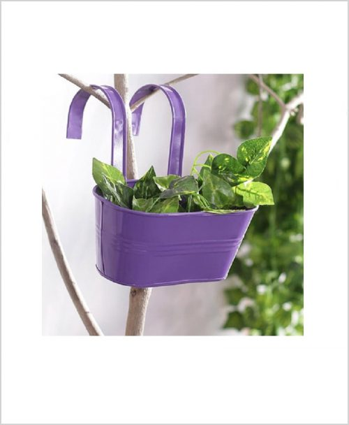 Buy Metal Oval Railing Planter Small Purple