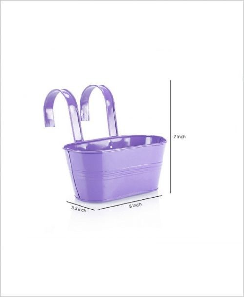 Buy Metal Oval Railing Planter Small Purple Dia