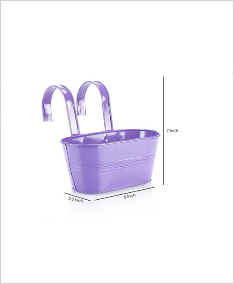 Metal Oval Railing Planter Small Purple