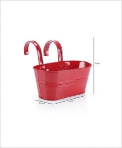 Buy Metal Oval Railing Planter Small Red Dia